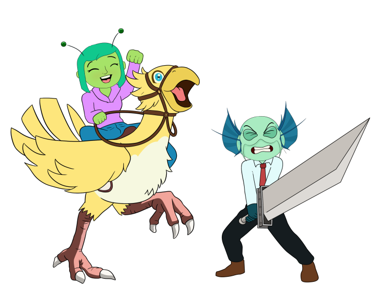 Daeva the alien riding a chocobo while Jacob the fishman struggles with a buster sword