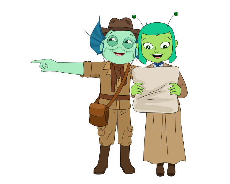 Jacob the fishman and Daeva the alien wearing archaeology outfits