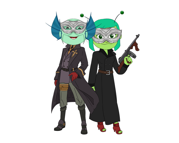 Daeva the alien and Jacob the fishman wearing Persona costumes