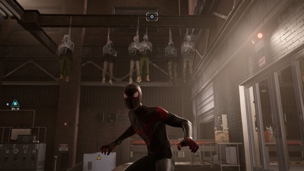 Spider-Man posing in front of a row of 6 webbed enemies hanging from a steel girder